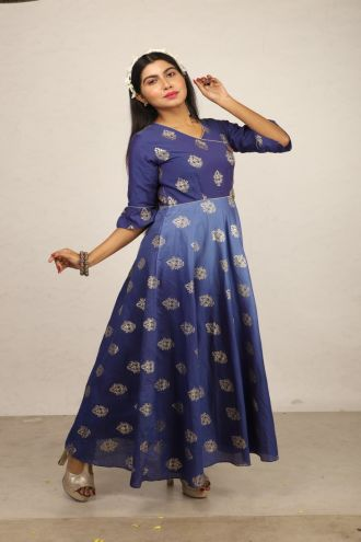 Minu Blue New Exclusive Chanderi Fabric Gown With Pattern Fo Gown