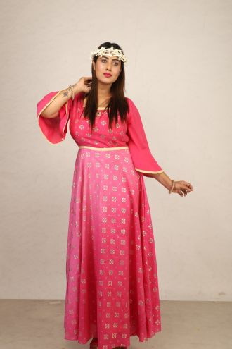 Minu Pink New Exclusive Chanderi Fabric Gown With Pattern Fo Gown
