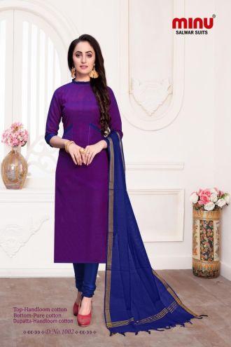 Minu Purple Cotton Handloom Printed Salwarsuit