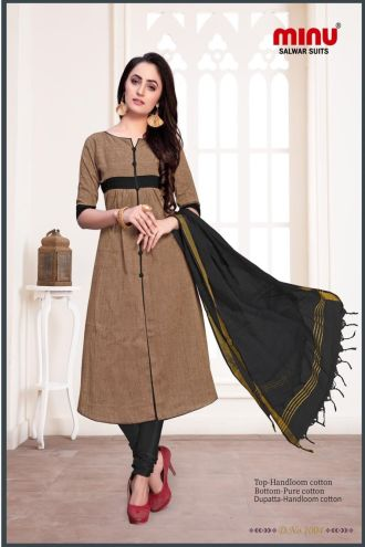 Minu Khaki Dark Cotton Handloom Printed Salwarsuit