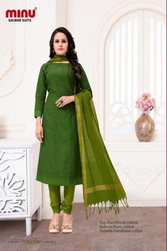 Minu Green Cotton Handloom Printed Salwarsuit