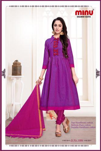 Minu Voilet Cotton Handloom Printed Salwarsuit