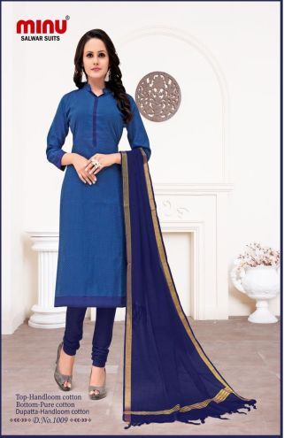 Minu Blue Cotton Handloom Printed Salwarsuit