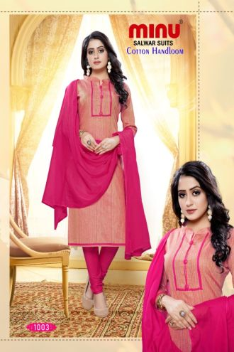 Minu Light Pink Designer Handloom Fabric Unstitched Cotton Handloo Salwarsuit