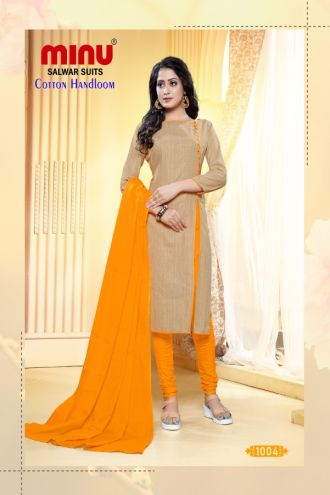 Minu Yellow Designer Handloom Fabric Unstitched Cotton Handloo Salwarsuit