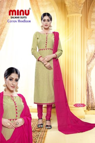 Minu Golden And Pink Designer Handloom Fabric Unstitched Cotton Handloo Salwarsuit