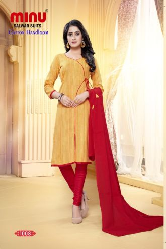 Minu Yellow And Red Designer Handloom Fabric Unstitched Cotton Handloo Salwarsuit