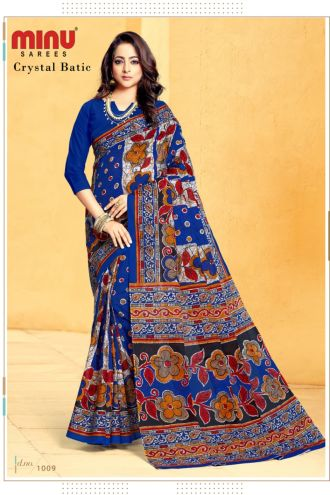 Minu Blue Cotton Printed Batik Print Designer Saree By Minu Sarees