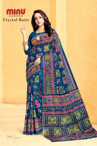 Minu Red Cotton Printed Batik Print Designer Saree By Minu Sarees