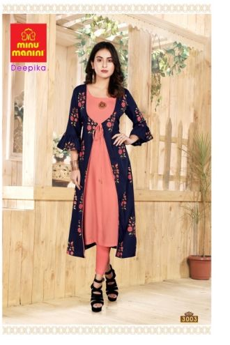 Minu Dark Blue And Pink Premium Rayon Long Kurti With Long Jacket Kurti
