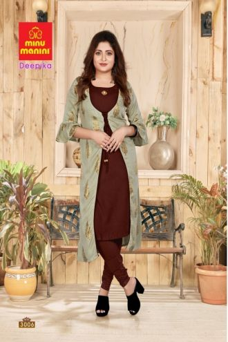 Minu Brown Premium Rayon Long Kurti With Long Jacket Kurti