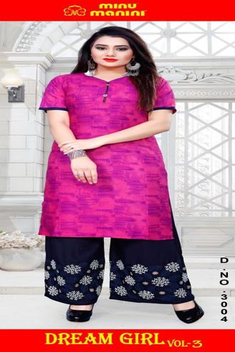 Minu Pink Pure Cotton Long Designer Top Kurti