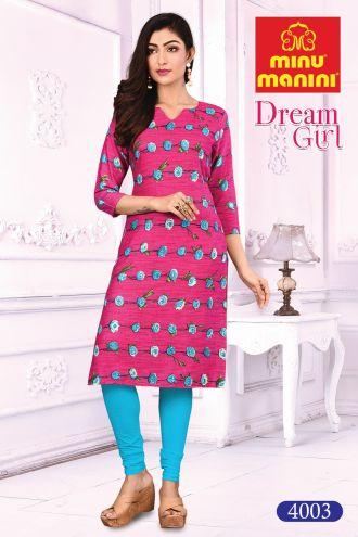 Minu Pink Cotton Printed Designer Kurti Dream Girl 4 Kurti