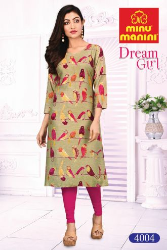 Minu Flax Yellow Cotton Printed Designer Kurti Dream Girl 4 Kurti