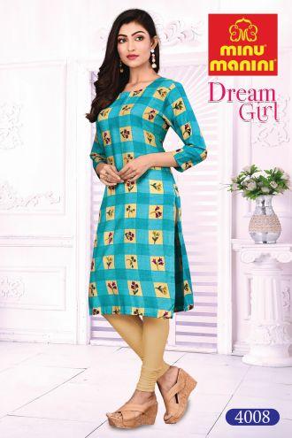 Minu Sky Blue Cotton Printed Designer Kurti Dream Girl 4 Kurti