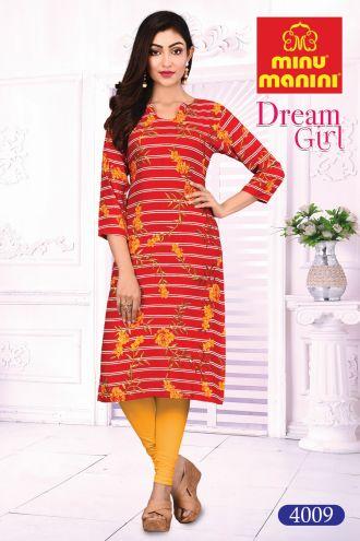 Minu Red Cotton Printed Designer Kurti Dream Girl 4 Kurti