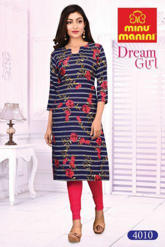 Minu Deep Blue Cotton Printed Designer Kurti Dream Girl 4 Kurti