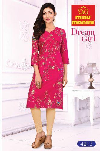 Minu Rose Pink Cotton Printed Designer Kurti Dream Girl 4 Kurti