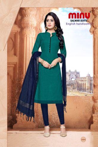 Minu Dark Green Cotton Handloom Solid Color Designer Suit Salwarsuit