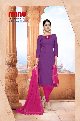 Minu Violet Cotton Handloom Solid Color Designer Suit Salwarsuit
