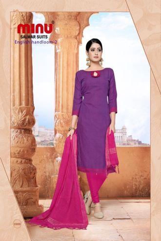 Minu Violet Cotton Handloom Solid Color Designer Suit Salwarsuit