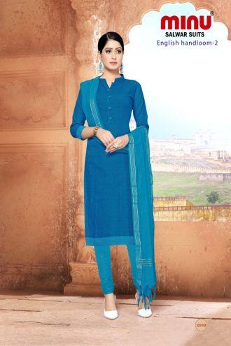 Minu Blue Cotton Handloom Solid Color Designer Suit Salwarsuit