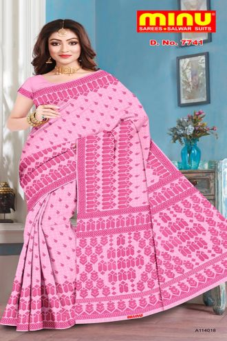 Minu Pink Pure Cotton With Check Pattern Sarees