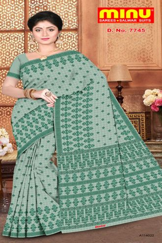 Minu Til Green Pure Cotton With Check Pattern Sarees