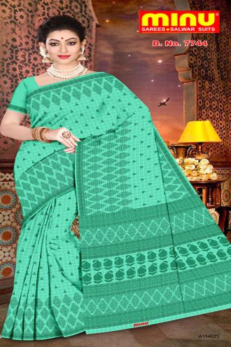 Minu Green Pure Cotton With Check Pattern Sarees