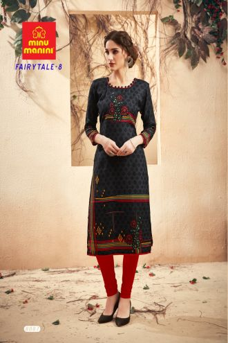 Minu Black Pashmina Fabric Winter Wear Exclusive Kurti