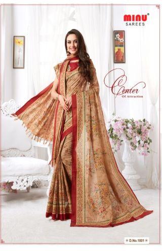 Minu Multi Malai Cotton With Matching Printed Pashmina Shawl Sarees