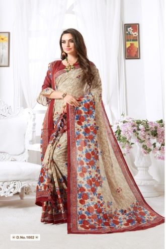 Minu Multi Minu Malai Cotton With Matching Printed Pashmina S Sarees