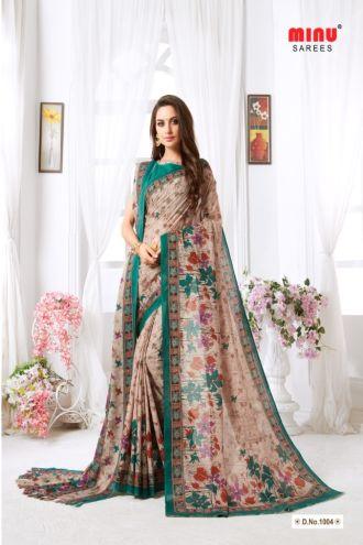 Minu Green Minu Malai Cotton With Matching Printed Pashmina S Sarees