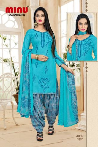 Minu Blue Cotton Embroidered Patyala Puja Special Salwarsuit