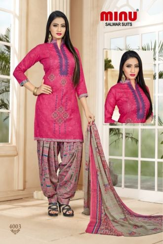 Minu Pink Cotton Embroidered Patyala Puja Special Salwarsuit