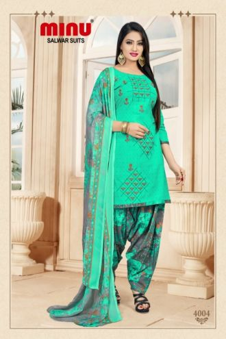 Minu Green Cotton Embroidered Patyala Puja Special Salwarsuit