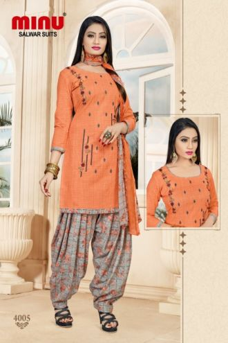 Minu Salmon Cotton Embroidered Patyala Puja Special Salwarsuit