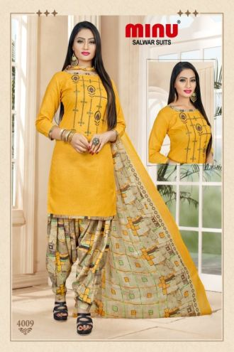Minu Yellow Cotton Embroidered Patyala Puja Special Salwarsuit