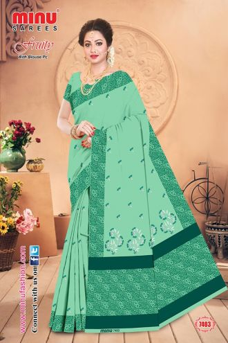 Minu Green Cotton Embroidered Puja Special Designer With Blou Sarees