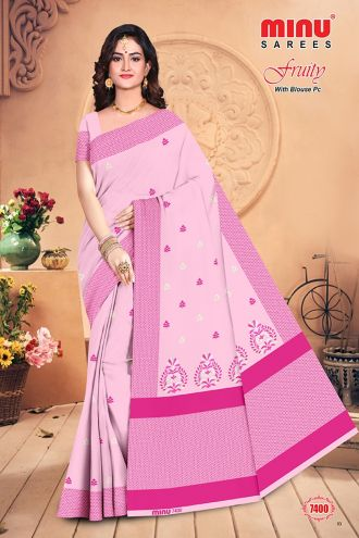 Minu Pink Cotton Embroidered Puja Special Designer With Blou Sarees