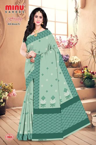 Minu Til Green Cotton Embroidered Puja Special Designer With Blou Sarees