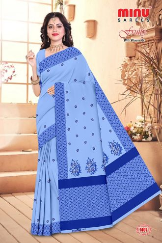 Minu Blue Cotton Embroidered Puja Special Designer With Blou Sarees