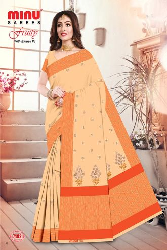 Minu Orange Cotton Embroidered Puja Special Designer With Blou Sarees