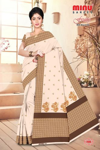 Minu Light Brown Cotton Embroidered Puja Special Designer With Blou Sarees