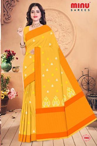Minu Yellow Minu Cotton Embroidered Designer Saree Sarees