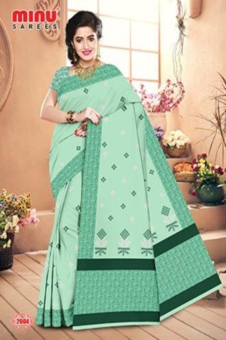 Minu Green Minu Cotton Embroidered Designer Saree Sarees