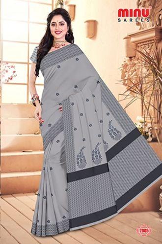 Minu Grey Minu Cotton Embroidered Designer Saree Sarees