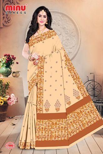 Minu Golden Minu Cotton Embroidered Designer Saree Sarees
