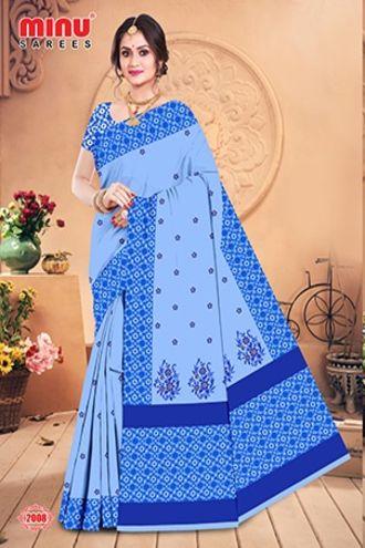 Minu Blue Minu Cotton Embroidered Designer Saree Sarees
