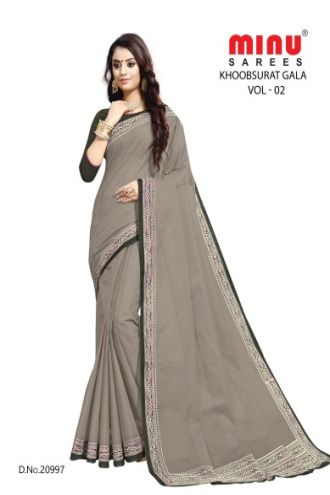 Minu Grey Cotton Single Printed Border Saree Sarees